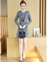 Women's Going out Simple A Line Dress,Solid Round Neck Above Knee Long Sleeve Rayon Spring Low Rise Micro-elastic Medium