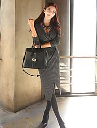 2015 primavera e verão novas mulheres coreana temperamento fino v-pescoço vestido listrado temperamento vestido elegante