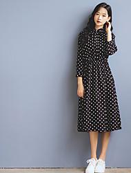 signe ressort nouveau manchon de point de tempête de collège polo col petit frais jupe robe douce