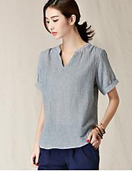assinar 2017 novos coreano algodão literária em torno do pescoço soltos mulheres de manga curta t-shirt