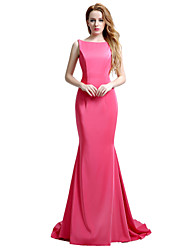 Mermaid / Trumpet Bateau Neck Court Train Matte Satin Formal Evening Dress