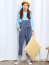 Sign Slim denim overalls jeans female college wind was lanky waist bow lacing trousers
