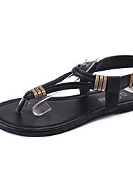 Damen-Sandalen-Lässig-PU-Flacher Absatz-Komfort-Weiß Schwarz Hellbraun