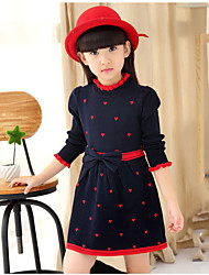Girl's Holiday Polka Dot Dress,Acrylic Long Sleeve