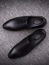 Men's Loafers & Slip-Ons Spring Fall Slingback PU Casual Low Heel Chunky Heel Black Dark Grey