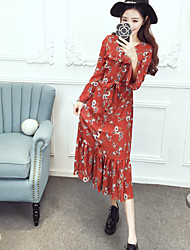Sign New Chiffon Slim and long sections lapel belted door speaker sleeve jumpsuit