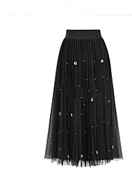 Women's Low Rise Casual/Daily Holiday Above Knee Skirts,Simple A Line Tulle Solid Spring Summer