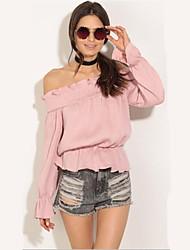 Damen Solide Einfach Lässig/Alltäglich T-shirt,Bateau Langarm Polyester