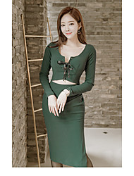 2017 autumn and winter Korean version of the new women cultivating long-sleeved round neck dress slit skirt empty thread