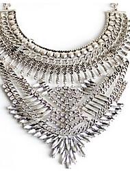 Mulheres Colares com Pendentes Colares Declaração Imitação de Diamante Gema Original Moda Euramerican Prata Jóias ParaFesta Ocasião