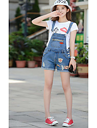 Women's Mid Rise Inelastic Jeans Shorts Pants,Simple Loose Straight Solid