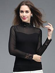 Damen Solide Sexy Lässig/Alltäglich T-shirt,V-Ausschnitt Herbst Langarm Andere Mittel