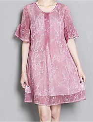 Women's Going out Loose Dress,Floral Round Neck Above Knee Short Sleeve Cotton Summer Mid Rise Micro-elastic Thin