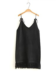 Women's Going out Simple Shift Dress,Solid V Neck Mini Sleeveless Rayon Spring Low Rise Micro-elastic Medium