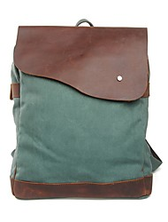 MUCHUAN 15.6 Inch Computer Shoulder Bag Canvas Horse Leather Travel Backpack