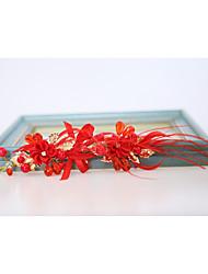 Penas Crostal Liga Poliéster Capacete-Casamento Ocasião Especial Ao ar Livre Flores Clip para o Cabelo 1 Peça
