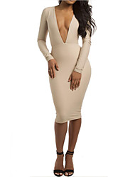 Women Sexy Deep V Neck Long Sleeve Bodycon Dress Knee High Back V Middle Dress