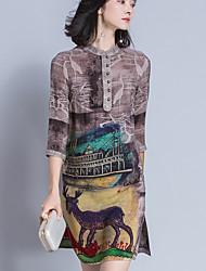 Sign vestido 2017 europeus verão perna de marcas de luxo colarinho retro imprimir uma palavra arte de seda