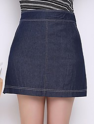 Women's Mid Rise Casual/Daily Mini Skirts,Vintage Trumpet/Mermaid Denim Solid Spring Summer