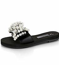 Damen-Slippers & Flip-Flops-Kleid Lässig Party & Festivität-PU-Flacher Absatz-Komfort-Schwarz Silber