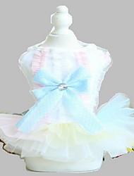 Dog Tuxedo Dress Cotton Dog Suspender Skirt Summer Princess Cute Fashion Birthday Wedding Light Blue Pink