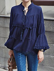 Spring new lady fringed retro horn sleeve shirt loose Wawa Shan flounced