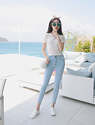 Pantyhose colored stretch jeans feet pencil pants female