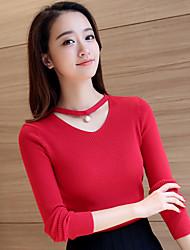 Pull vrai coup modèle licou percé v-cou couverture version féminine coréenne de chandail de couleur unie mince creux chute et de vêtements