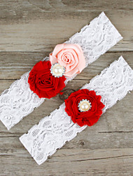 2pcs/set Red And Pink Satin Lace Chiffon Beading Wedding Garter