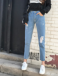 Sign Spot hot models wild influx of Korean women wear white hole was thin nine points jeans