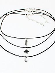 3 Pcs Sets Feather Gem Star Pendant Chokers Necklaces Leaves Alloy Pendants Maxi Necklaces For Unisex Necklace Sets