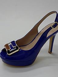 Damen-High Heels-Büro Kleid Party & Festivität-Lackleder-Stöckelabsatz Plateau-Club-Schuhe formale Schuhe-Weiß Blau