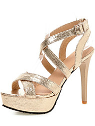 Women's Sandals Summer Club Shoes Patent Leather Wedding Party & Evening Dress Stiletto Heel Buckle