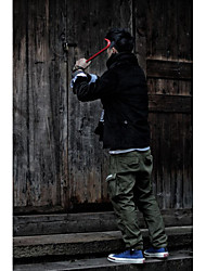 Masculino Moda de Rua Cintura Média Inelástico Chinos Calças,Solto Cor Única