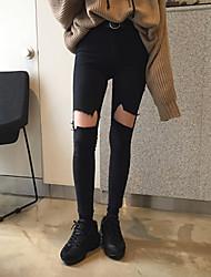Korean high waist pencil legs burr hole stretch jeans