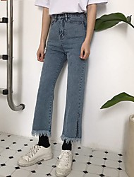 Real shot! Korea retro Hong Kong flavor chic style fringed trousers split nine straight washed jeans!