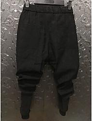 Masculino Simples Cintura Alta Com Elástico Chinos Calças,Harém Cor Única