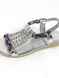 Damen-Sandalen-Lässig-PU-Flacher Absatz-Komfort-Gold Schwarz Silber