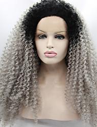 Mujer Pelucas sintéticas Encaje Frontal Medio Rizado rizado Afro Gris Peluca natural Las pelucas del traje