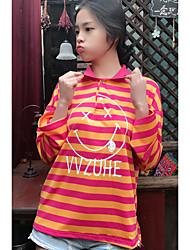 знак шика гонконг вкус ветра полосатый с длинными рукавами футболки поло воротник улыбка женщина роговой рукав рубашки женский Waichuan