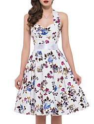 Women's Going out Vintage Swing Dress,Floral Halter Knee-length Sleeveless Cotton Summer Mid Rise Inelastic Medium
