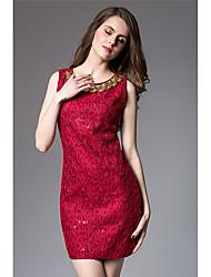 Trapèze Robe Femme Soirée / Cocktail Sortie Sexy,Broderie Col Arrondi Au dessus du genou Sans Manches Autres Eté Taille Normale