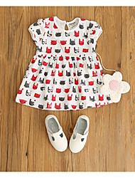Девичий Платье На каждый день Хлопок Животные принты Лето С короткими рукавами