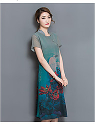 Really making 2017 spring and summer new high-end silk print dress and long sections Slim Chinese style cheongsam