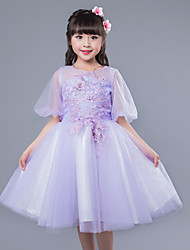 Ball Gown Knee-length Flower Girl Dress - Cotton Satin Tulle Short Sleeve Jewel with Appliques Bow(s) Flower(s) Sash / Ribbon