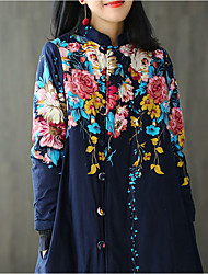 Women's Going out Casual/Daily Work Sophisticated Fall Winter Coat,Floral Stand Long Cotton