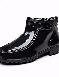 Women's Boots Slingback Rain Boots Leather Spring Winter Casual Walking Slingback Rain Boots Chunky Heel Black Flat