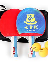 2 Звезды Ping Pang/Настольный теннис Ракетки Ping Pang дерево Короткая рукоятка Прыщи 2 Ракетка 3 Мячи для настольного тенниса
