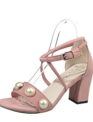 Women's Sandals Spring Summer Slingback Club Shoes Comfort Fabric Wedding Office & Career Casual Chunky Heel Beading Buckle Plaid