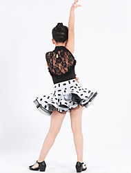 Latin Dance Outfits Kid's Performance Spandex Polyester Lace Pattern/Print Ruched Ruffles Side-Draped Polka Dots Color Block 2 Pieces